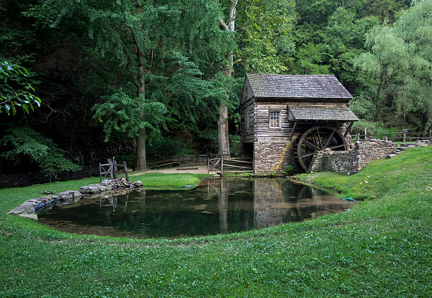 18th Century Watermill and Pond stock photo