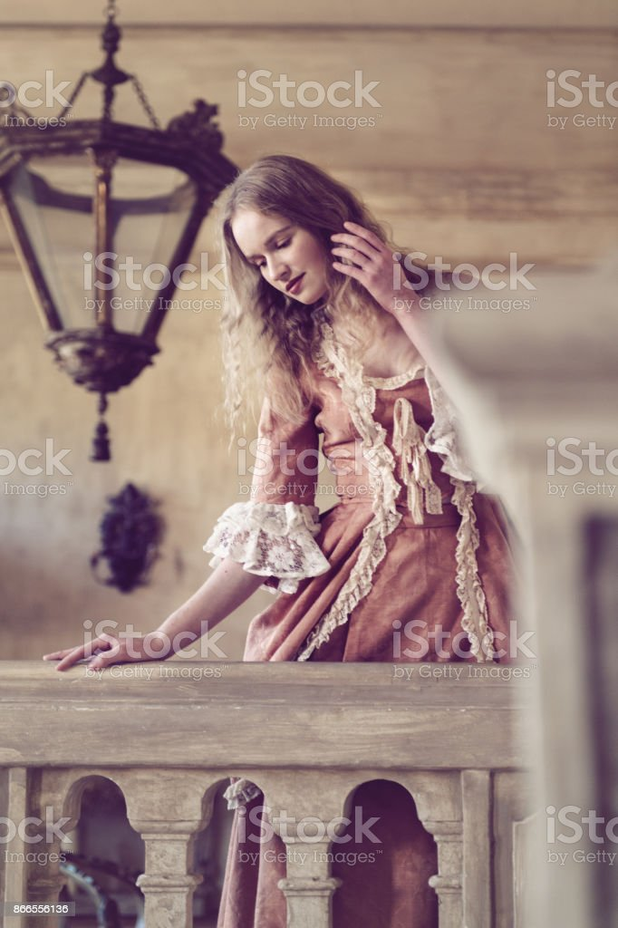 18th century woman in a castle stock photo