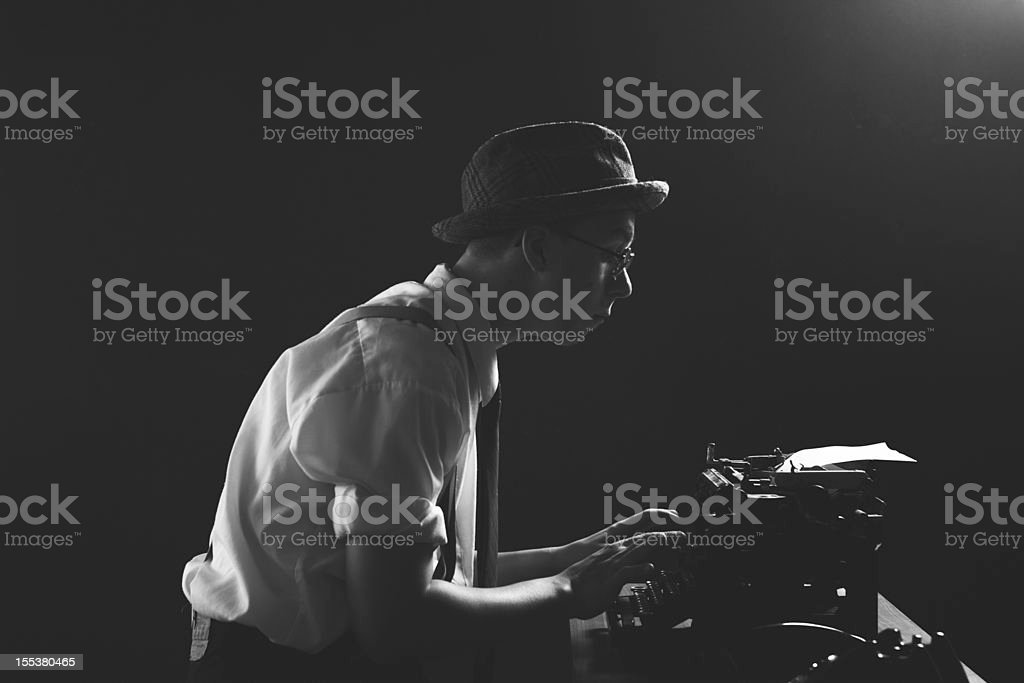 1920s Detective or Reporter Working Late Hours stock photo