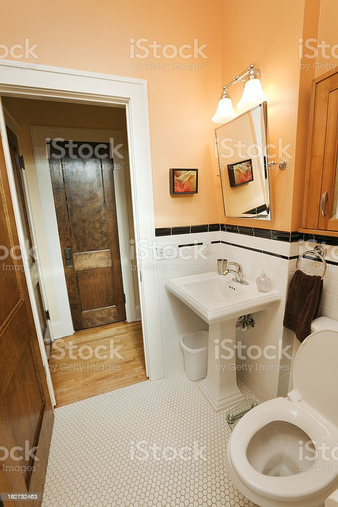 1920s House Retro Deco Bathroom Home Interior Design Tile Remodeling royalty-free stock photo