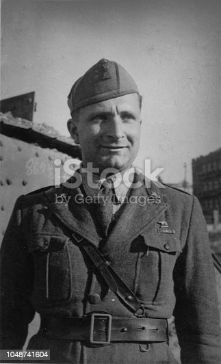 1930s 1940s 1950s Outdoor shot of a young elegant military dressed italian man