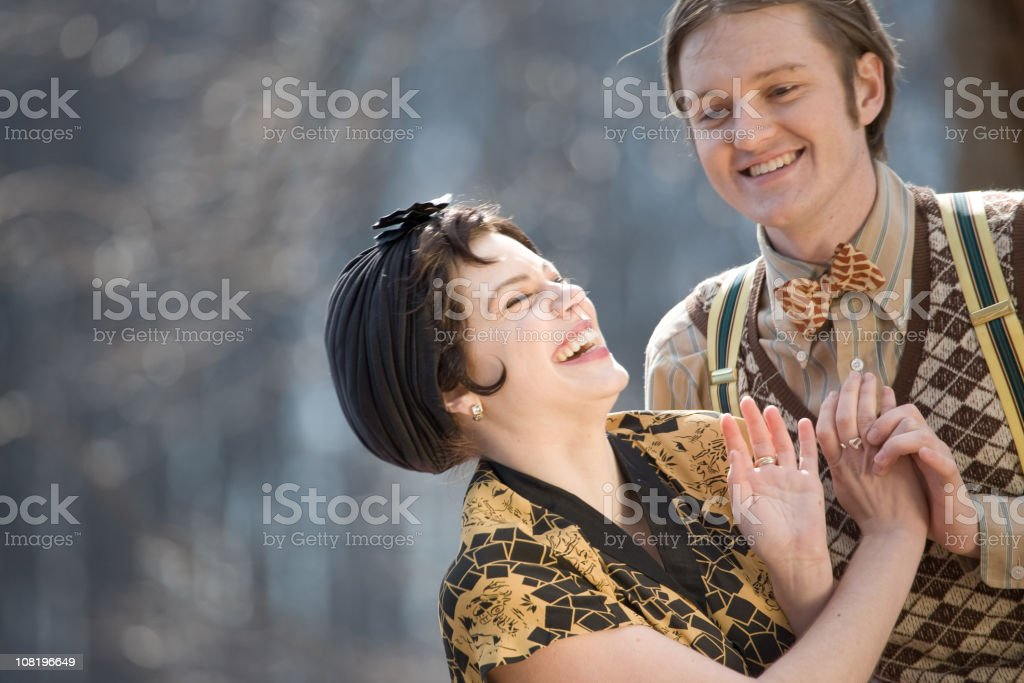 1920s style couple having fun royalty-free stock photo