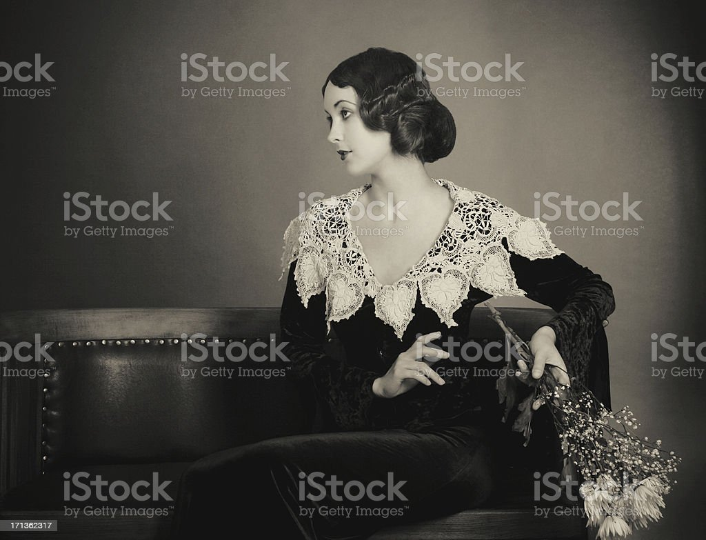 1920s style.Waiting time stock photo
