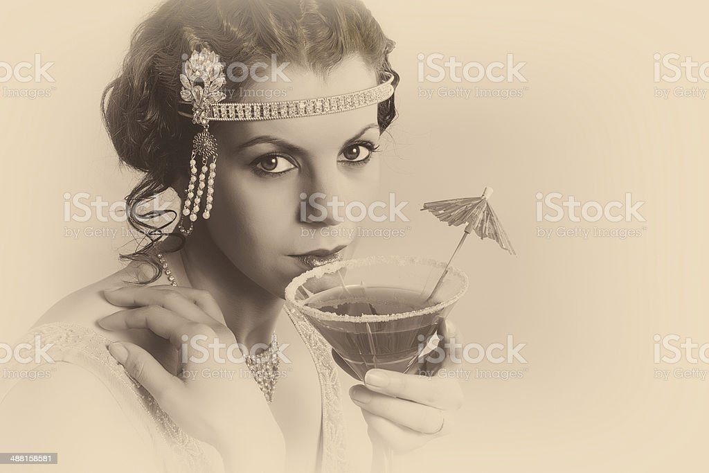 1920s vintage woman in sepia stock photo