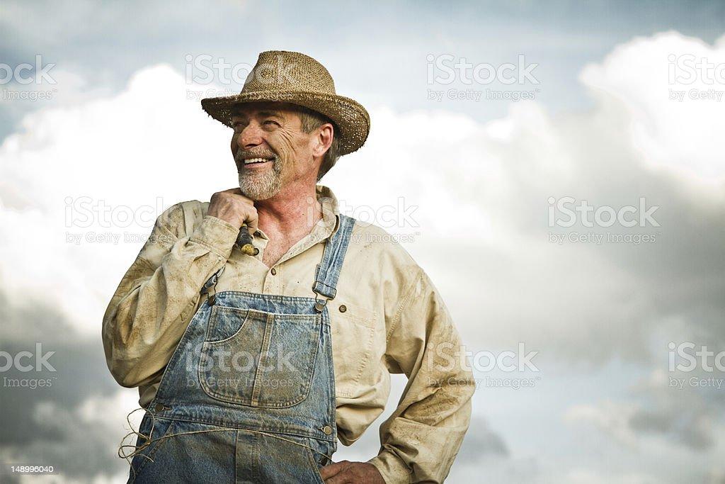 1930s farmer smiling royalty-free stock photo