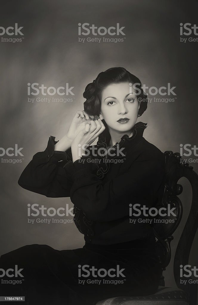 1930s style. Female portrait. stock photo