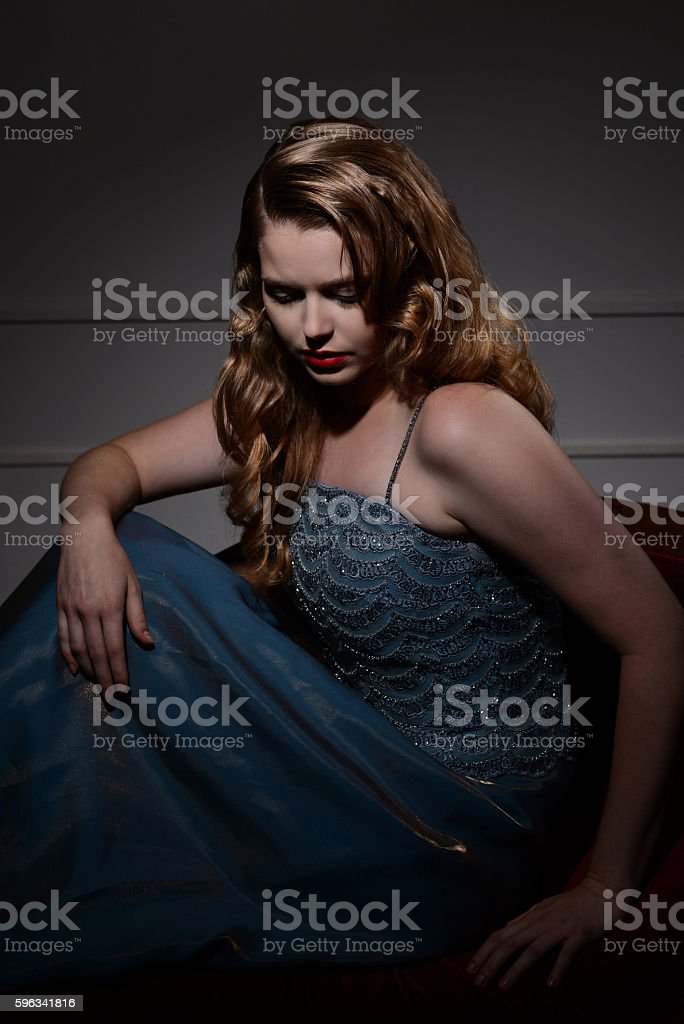 1940s glamour portrait woman looking down royalty-free stock photo