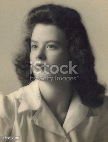 Black and white image of a beautiful young woman in the early 1940's.