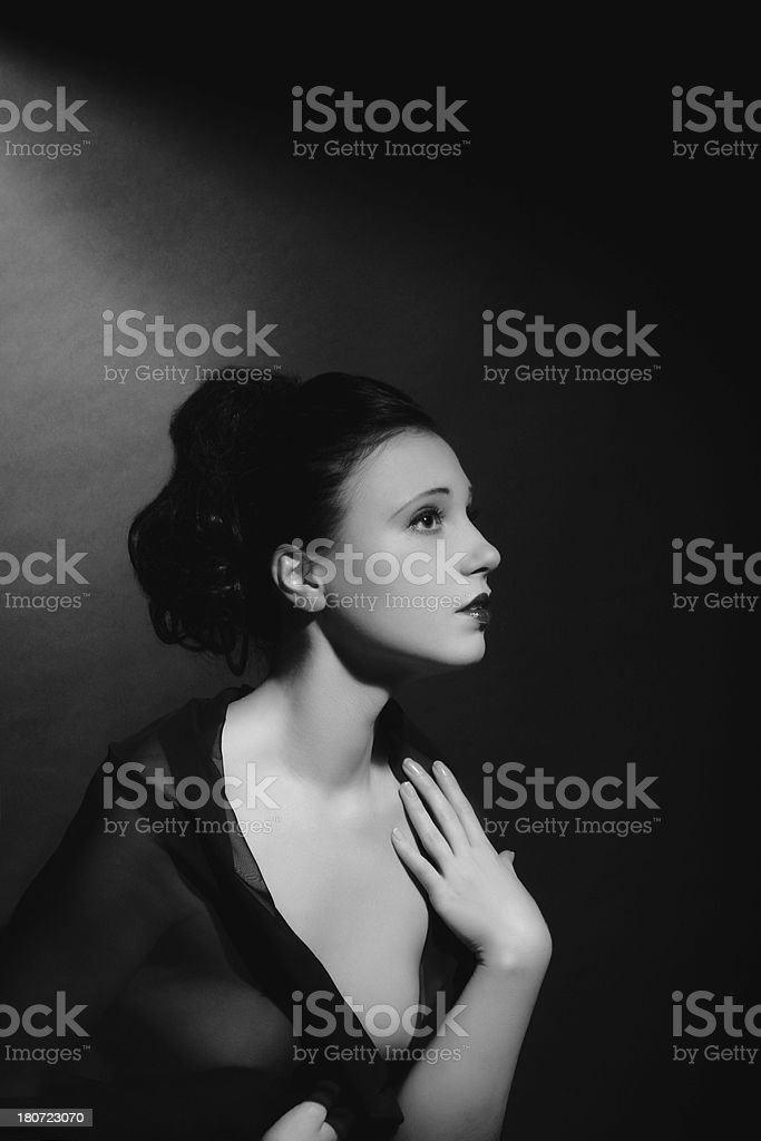 1940s style. Female Portrait royalty-free stock photo
