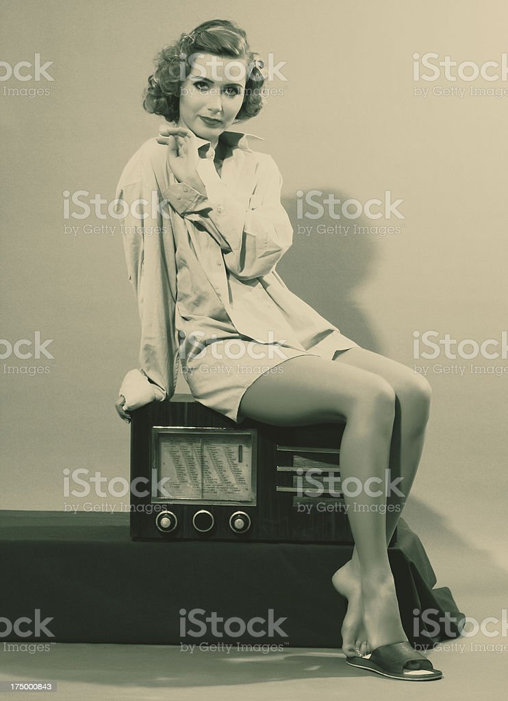 1940s style.Female Portrait royalty-free stock photo