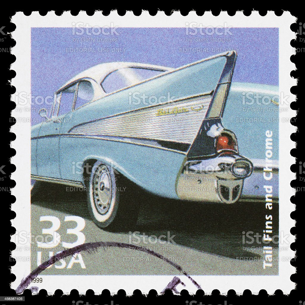 USA 1950s cars postage stamp royalty-free stock photo