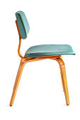 1950s Dining Chair Seating Furniture Side View Isolated White Background