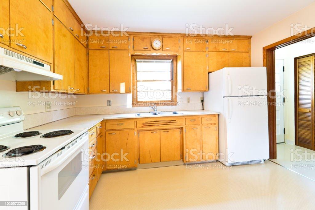 1950s Midcentury Modern Bungalow Real Estate Interior Kitchen Stock
