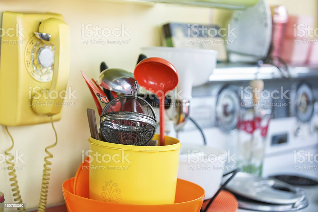 1950s Style Kitchen Wall Phone And Utensils Royalty Free Stock Photo