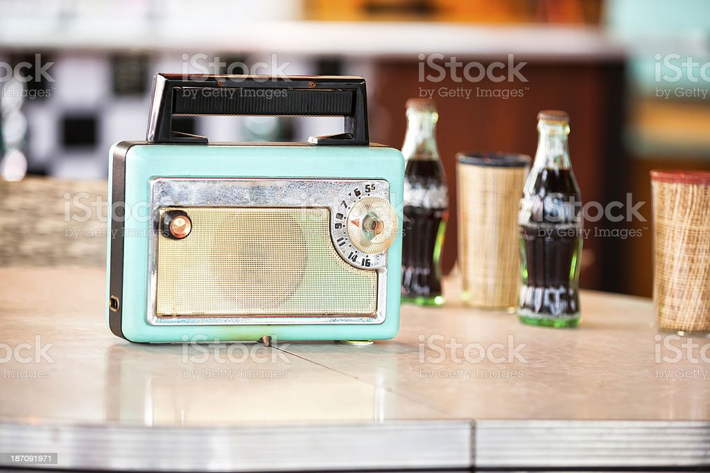 1950s Style Transistor Radio on Table stock photo