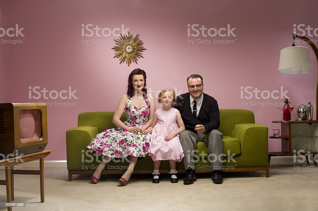 1950s tv family stock photo