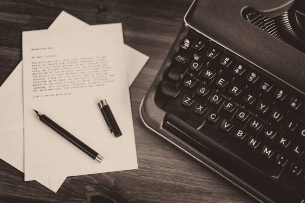 1950s Vintage Typewriter and Correspondence stock photo