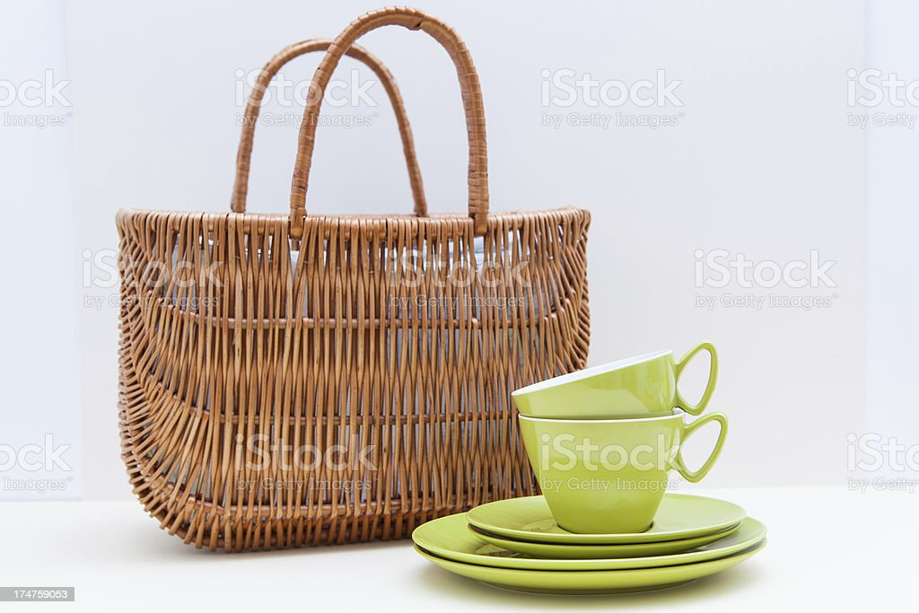 1960s Lime Green Picnic set stock photo