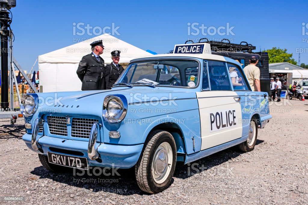 1960s Triumph Herald blue and white Police car at the Bath and West show in Somerset, UK stock photo