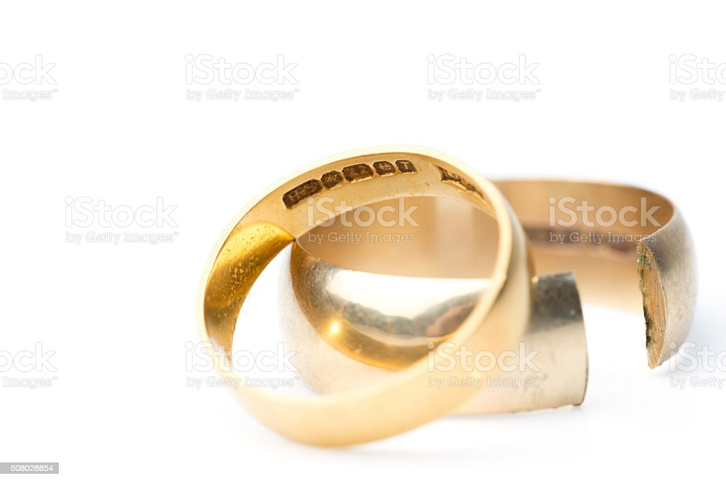 1960s Wedding Rings - Broken Marriage stock photo