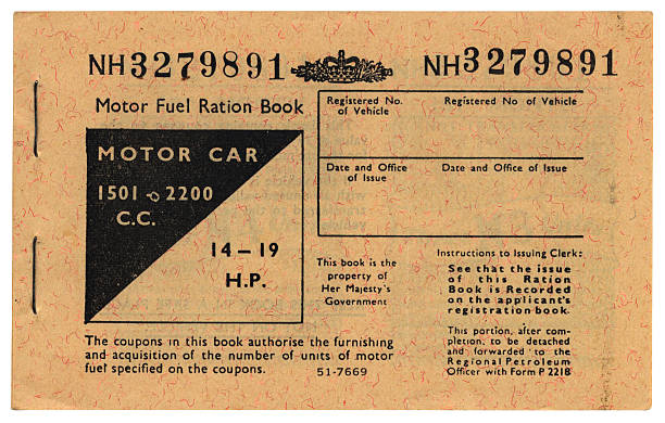 1970s British motor fuel ration book cover stock photo