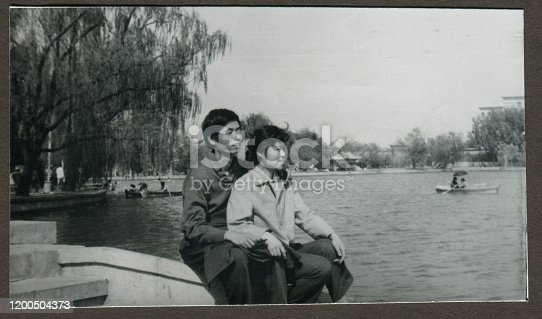 1970s China young girl and young boy monochrome old photo
