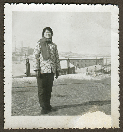 1970s China young girl portrait monochrome old photo