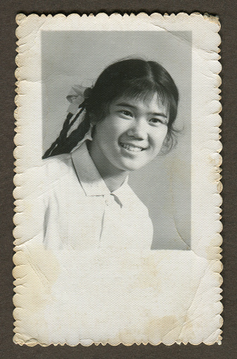 Monochrome old photo young girl portrait