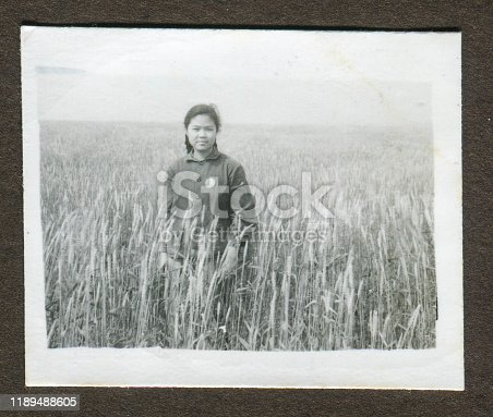 1970s China young girl portrait monochrome old