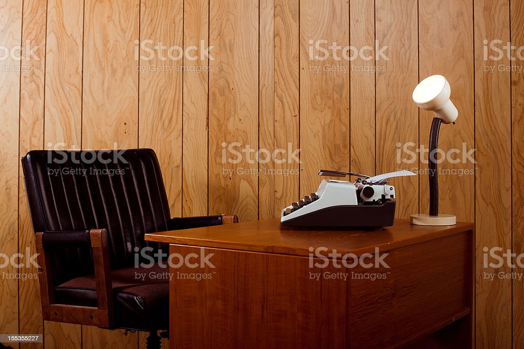 1970s office desk and chair stock photo