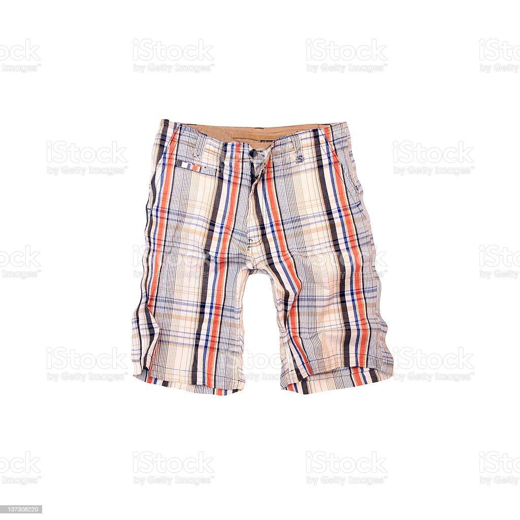 1970s Plaid Shorts on White Background royalty-free stock photo