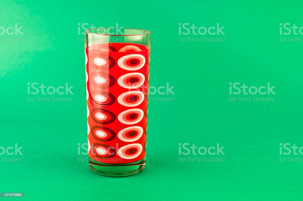 1970s Retro Drinking Glass Green Background Colorful Kitchen