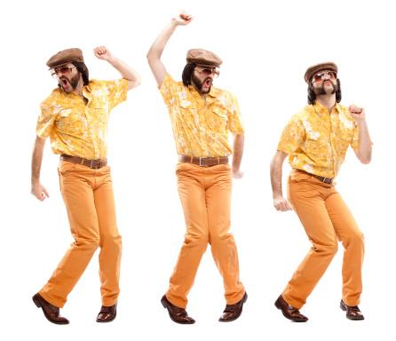 1970s vintage hawaiian shirt man  dance disco isolated on white