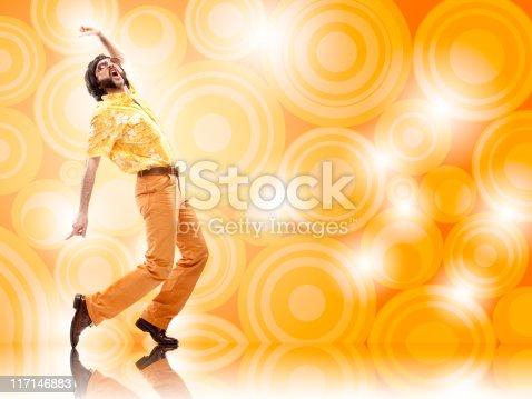 istock 1970s vintage orange hawaiian shirt  man with sunglasses disco d 117146883