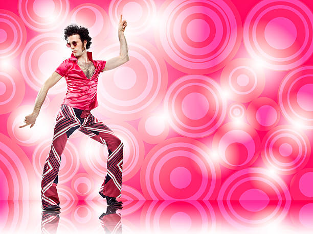 1970s vintage pink man with sunglasses disco dance move - nightclub stock photos and pictures