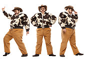 1970s vintage rich brown cowboy disco dancing poses isolated