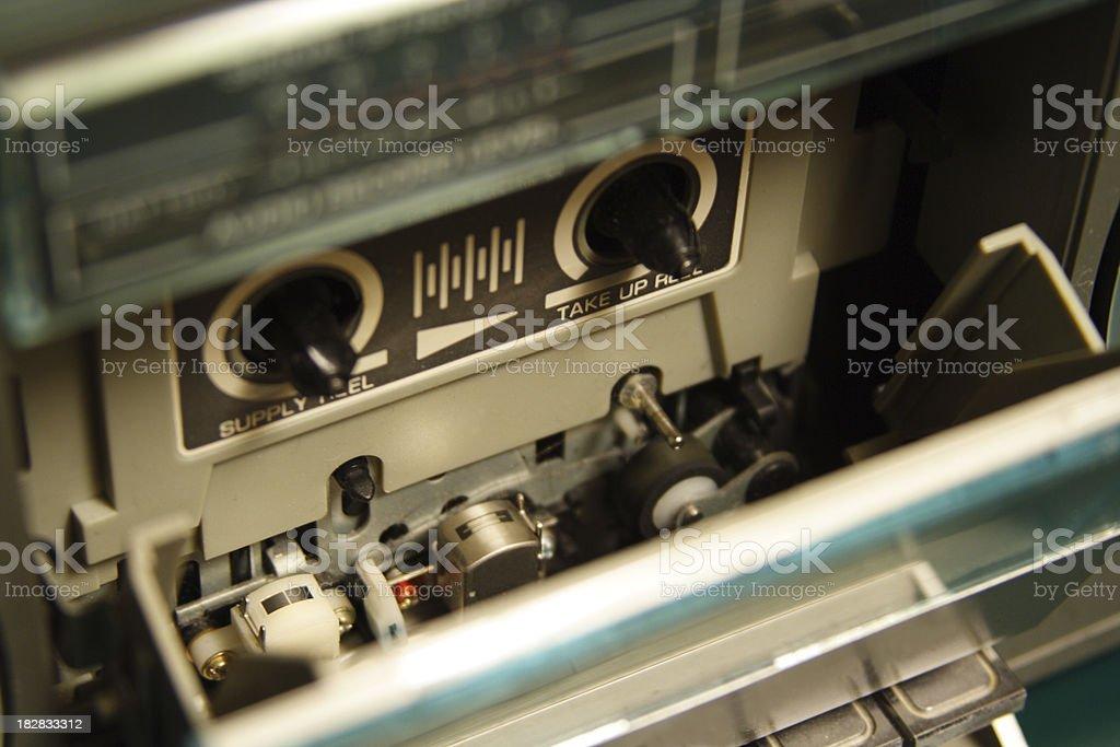 1980s AM/FM Radio Cassette Deck with Open Door stock photo