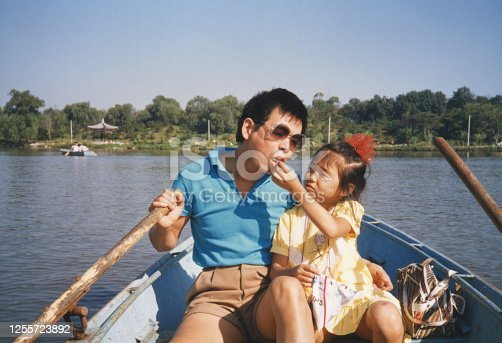 1980s China Father and daughter on the boat photos of real life
