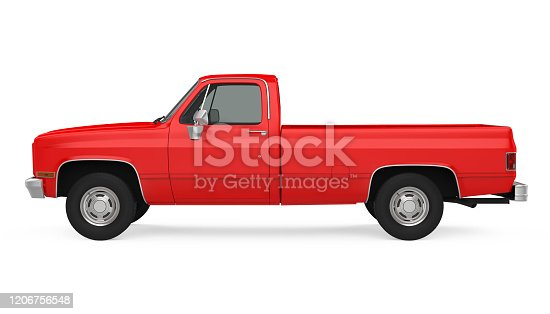 1980s Pickup Truck isolated on white background. 3D render