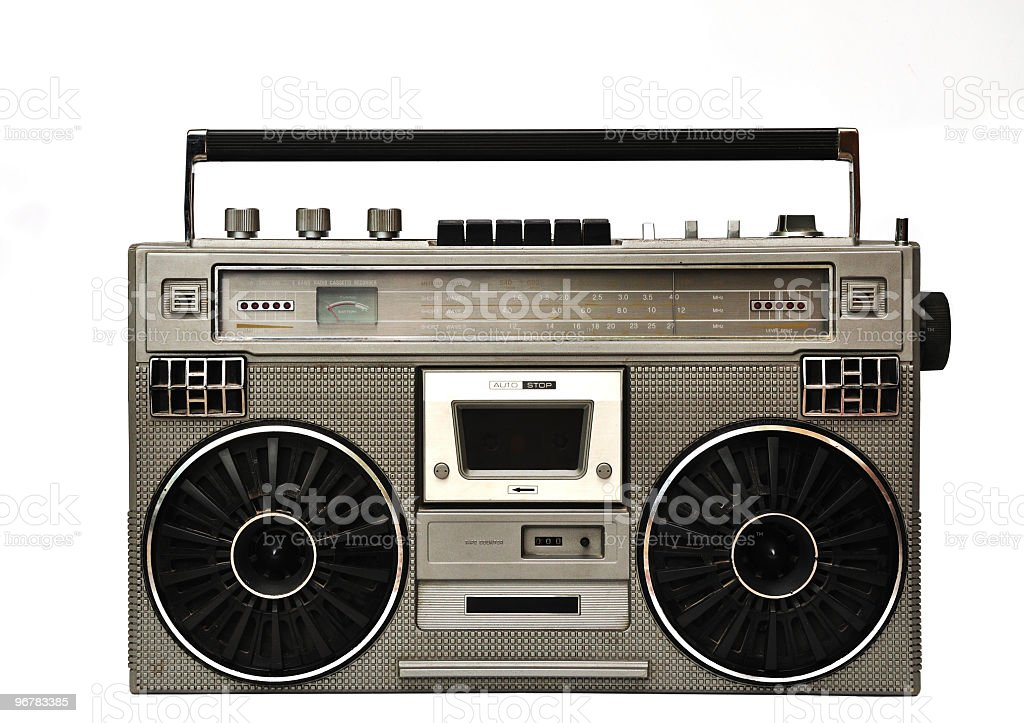 1980s Silver boom box and headphone isolated on white. stock photo