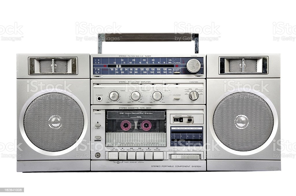 1980s Silver radio boom box  isolated on white. front stock photo