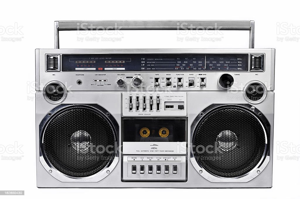 1980s Silver radio boom box  isolated on white. front 1980s Silver radio boom box with isolated on white. 1980-1989 Stock Photo