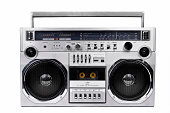 1980s Silver radio boom box with isolated on white.