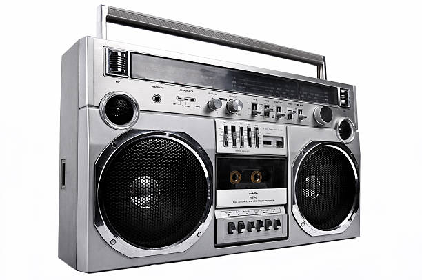 1980s Silver radio boom box  isolated on white. left stock photo