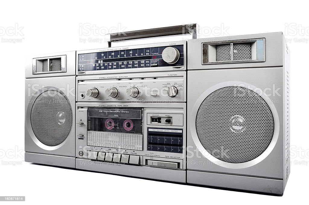 1980s Silver retro, boom box and headphone isolated royalty-free stock photo