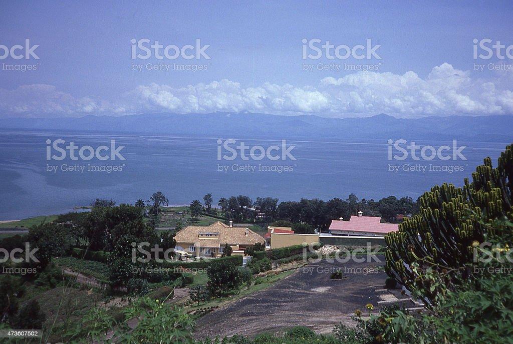 1980s view Lake Kivu Gisenyi Cityscape Rwanda clouds western escarpment stock photo