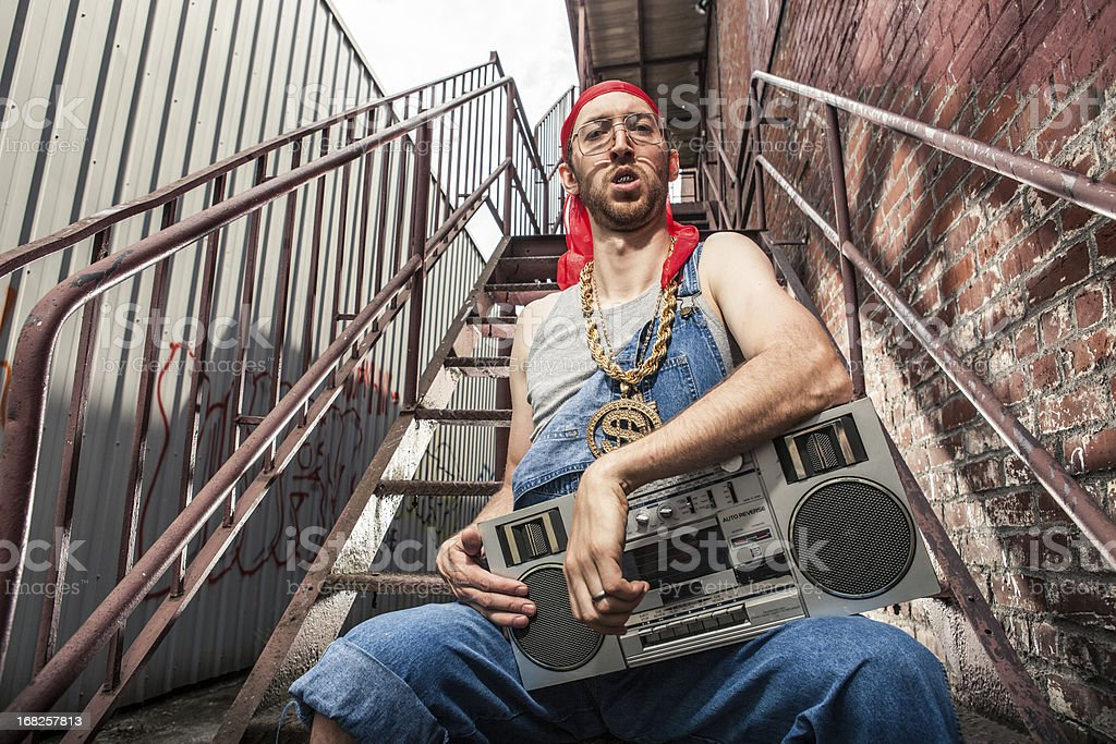 1990s Boom Box Holding Doo Rag Wearing White Man stock photo