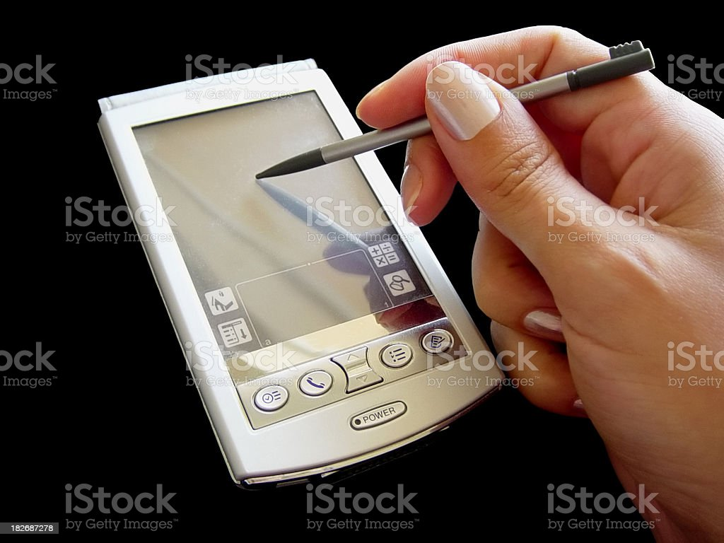 1990s PDA - Handheld device: Personal Digital Assistant stock photo