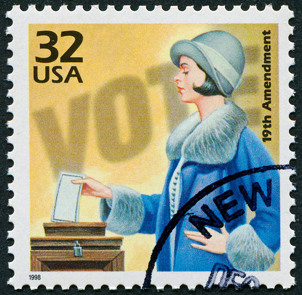 19th Amendment Stamp Cancelled Stamp From The United States Commemorating The 19th Amendment And Women's Suffrage. women's suffrage stock pictures, royalty-free photos & images