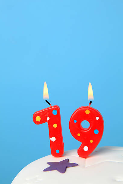 19th birthday candles - number 19 stock photos and pictures